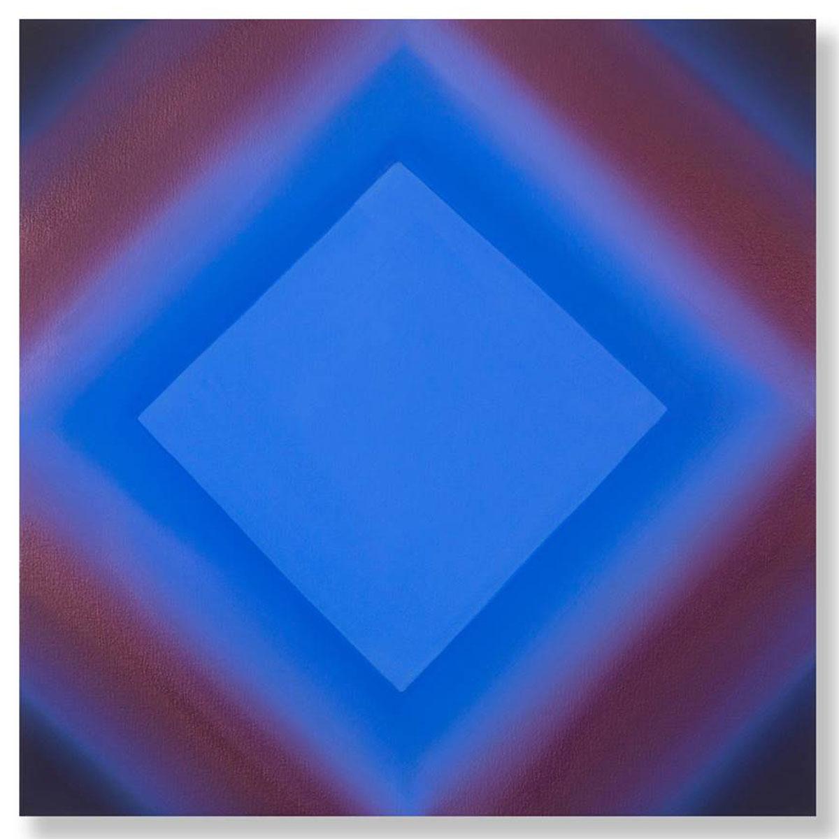 Matter of Light 14-S2424, (Blue Orange), Matter of Light Series, 2017, oil on canvas on custom beveled stretcher, 24 x 24 x 3 in. (61 x 61 x 7 in.)