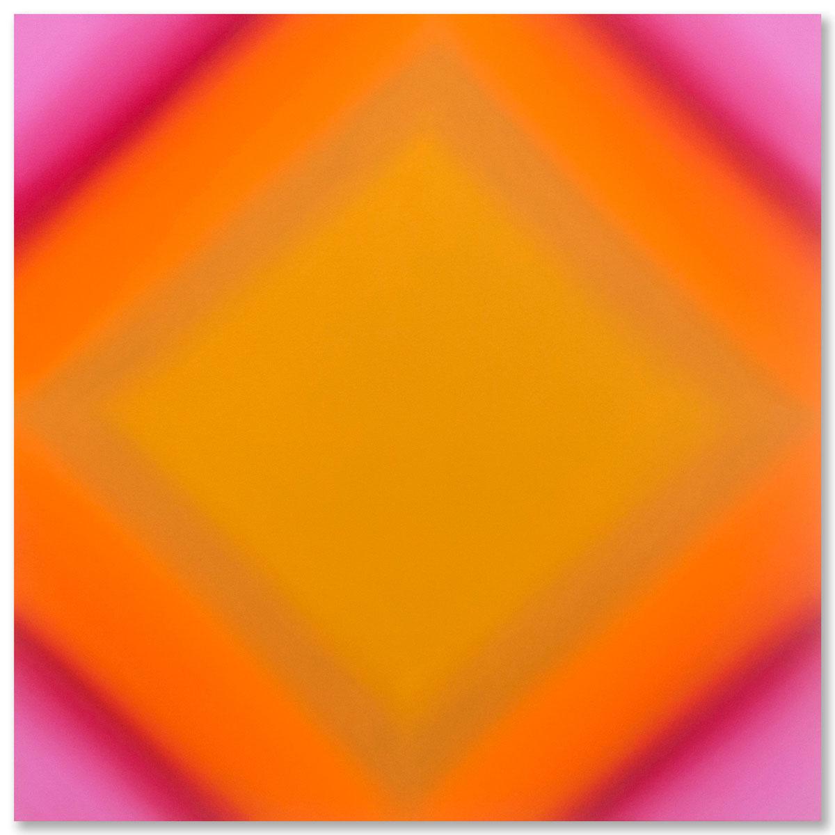 Matter of Light 2-S4848, (Red Green), Matter of Light Series, 2016, oil on canvas on custom beveled stretcher, 48 x 48 x 3 inc. (122 x 122 x 7 cm.)