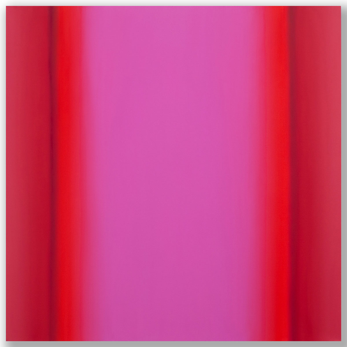 Matter of Light 5-S4848, (Red Green), Matter of Light Series, 2016, oil on canvas custom beveled stretcher, 48 x 48 x 3 in. (122 x 122 x 7 cm.)