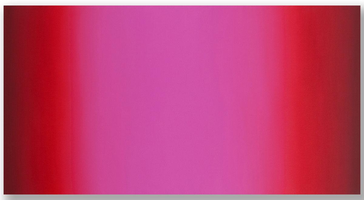 Matter of Light 6-HV3260 (Red Green), Matter of Light Series, 2016, oil on canvas on custom beveled stretcher, 32 x 60 x 3 in. (82 x 153 x 7 cm.)