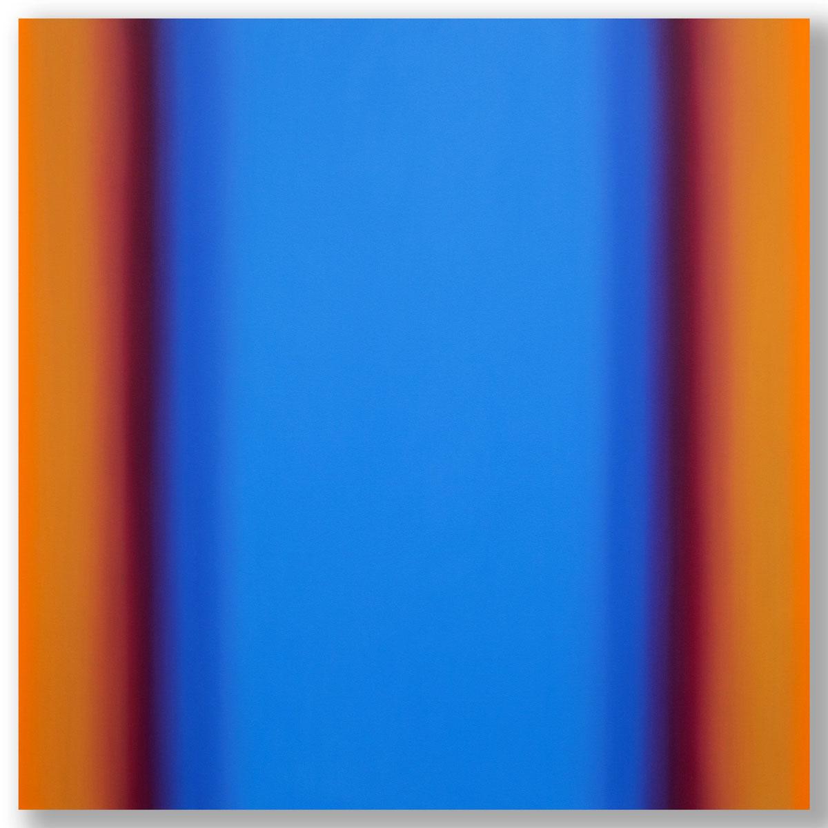 Matter of Light 7-S6060, (Blue Orange), Matter of Light Series, 2016, oil on canvas on custom beveled stretcher, 60 x 60 x 3 in. (153 x 153 x 7 cm.)